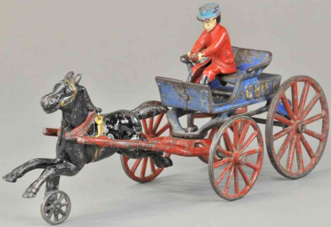 kenton hardware co cast iron toy fire chief blue one horse