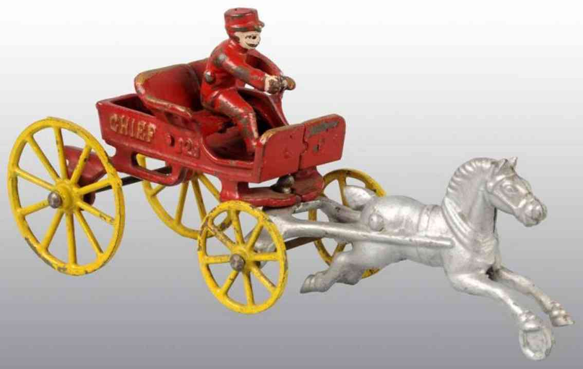 kenton hardware co cast iron toy horse drawn fire chief red