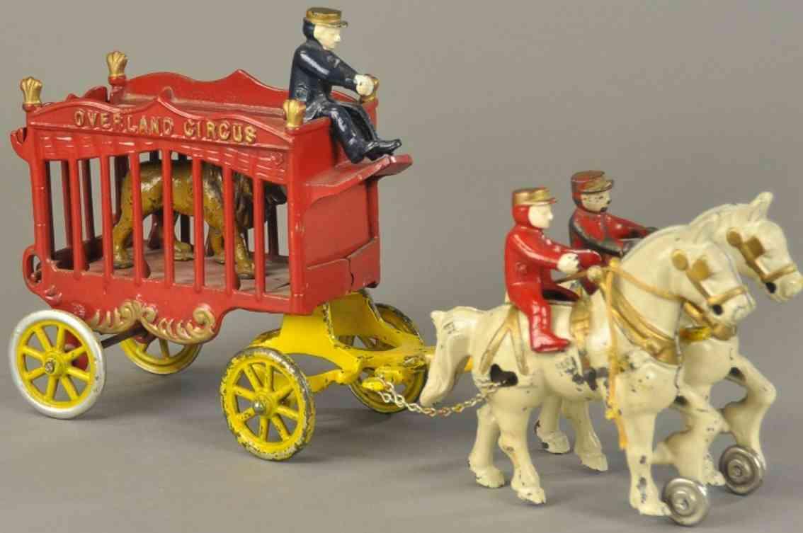 kenton hardware co spielzeug gusseisen ueberlandzirkuskaefigwagen loewe zwei pferde