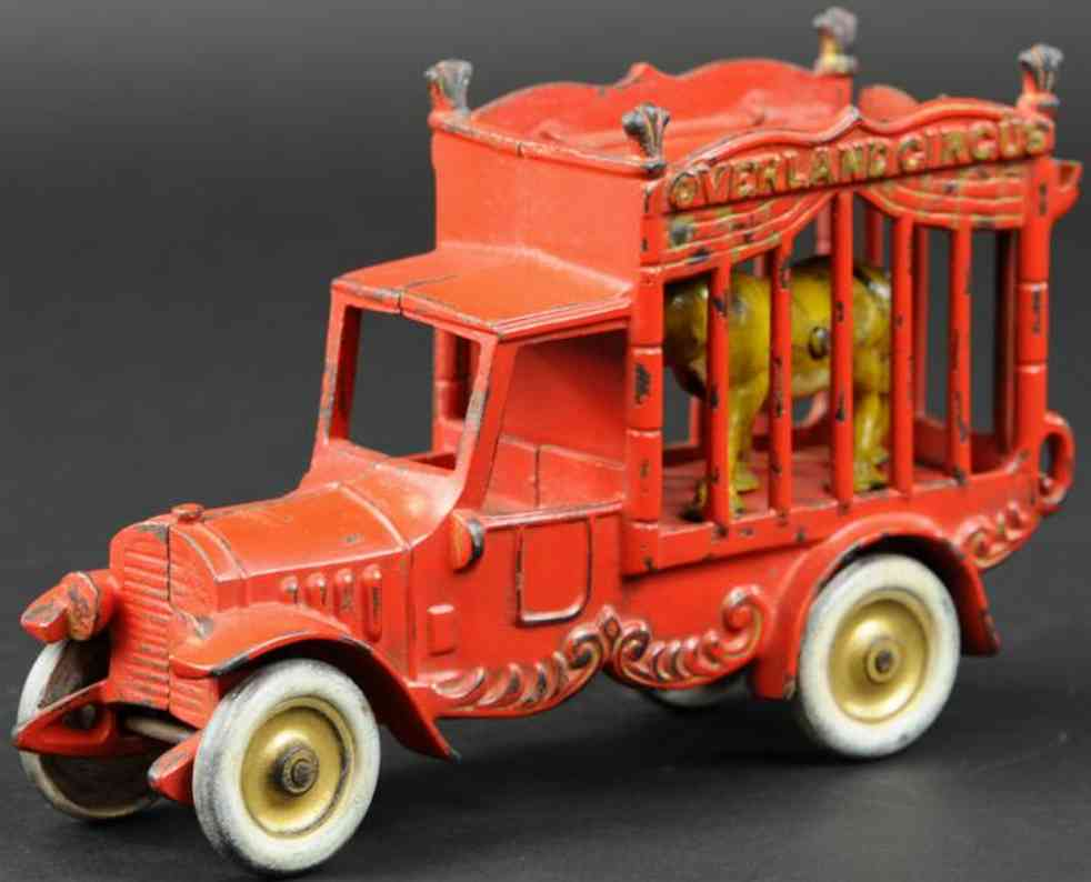 kenton hardware co cast iron toy overland circus cage truck red lion