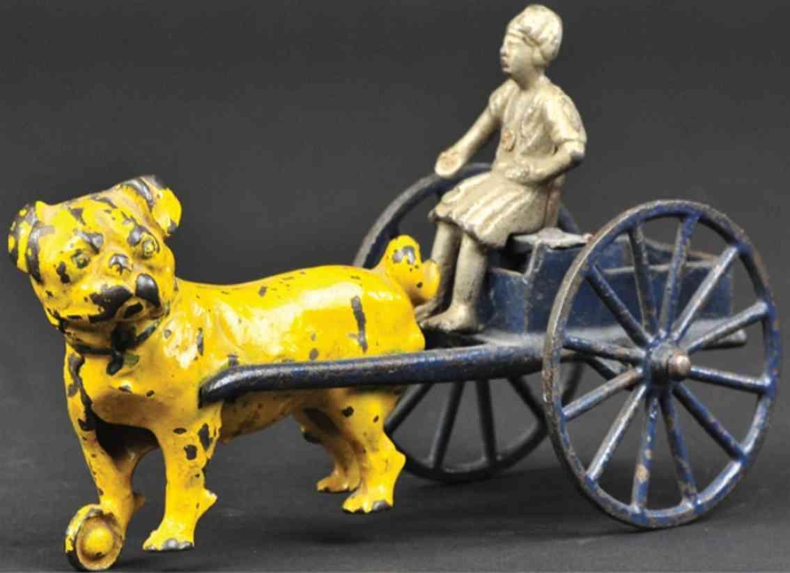 kenton hardware co spielzeug gusseisen hund zieht karre blau gelb hindu