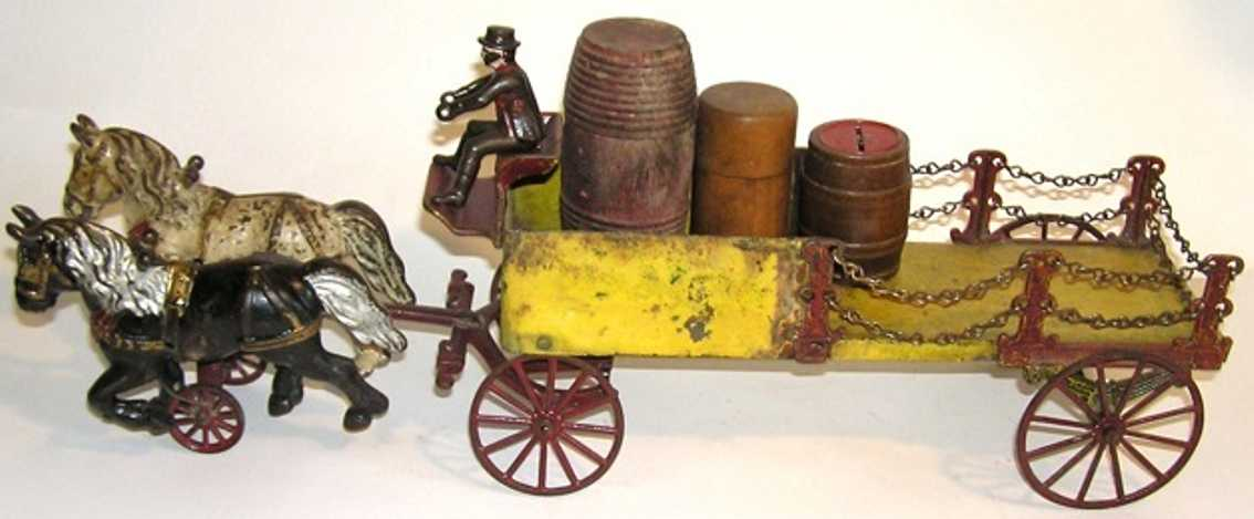 kenton hardware co cast iron toy dray wagon with figure
