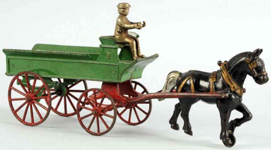 kenton hardware co cast iron toy horse drawn wagon toy