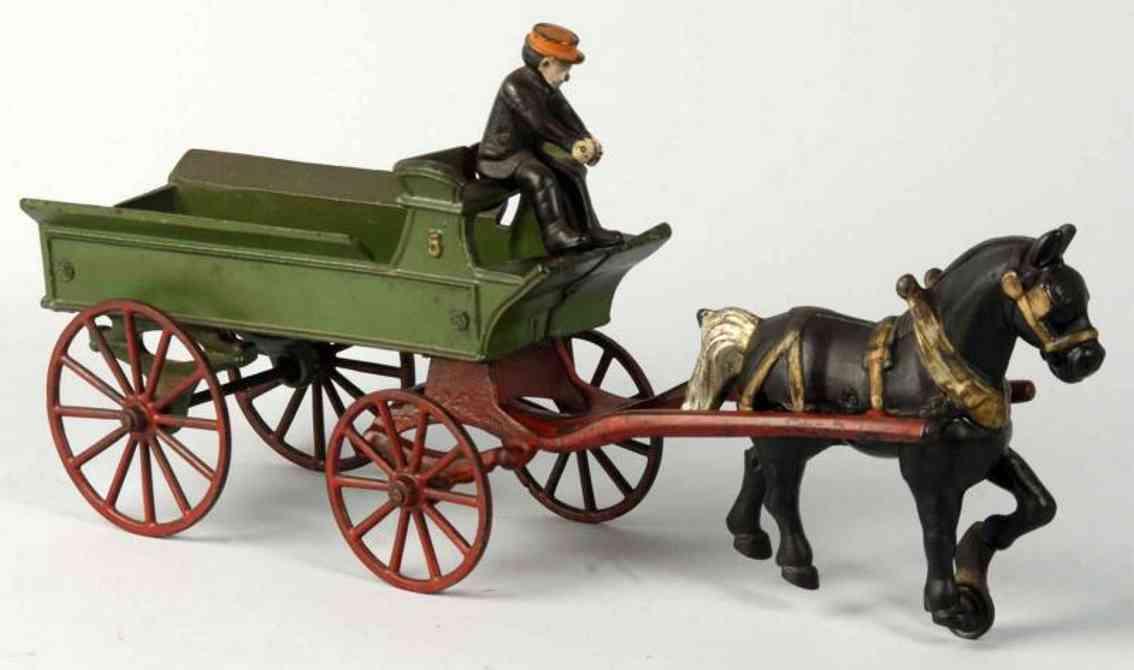 kenton hardware co cast iron toy horse drawn dray wagon