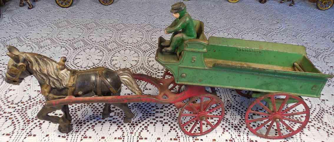 kenton hardware co  cast iron toy dray or farm wagon