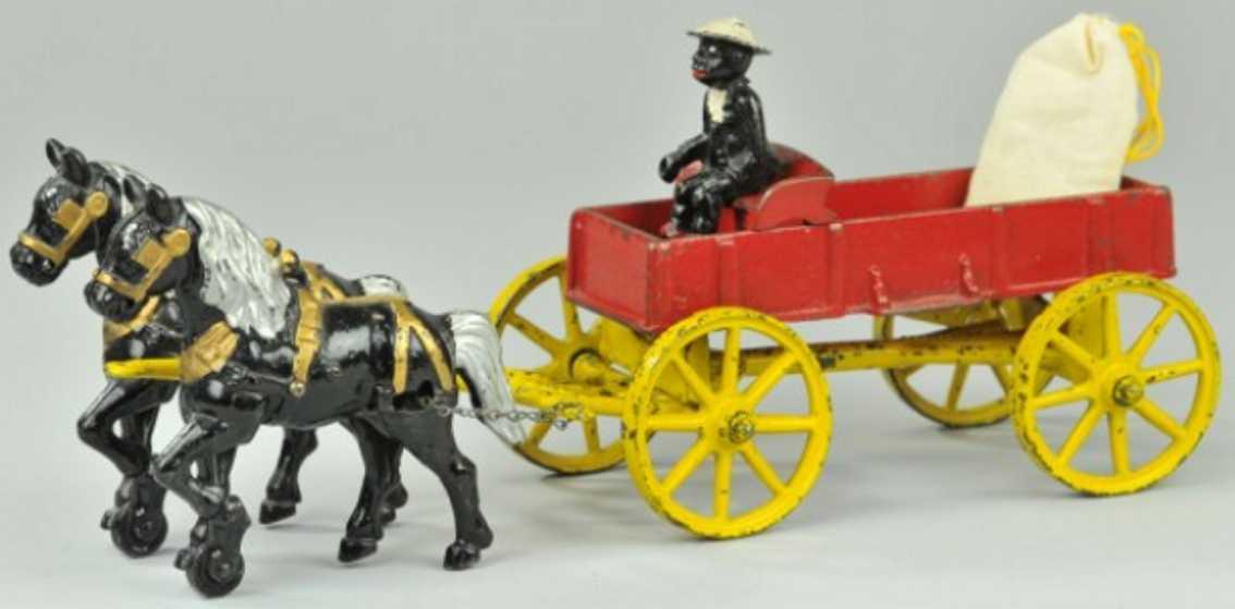 kenton hardware co cast iron toy farm wagon red 2 horses