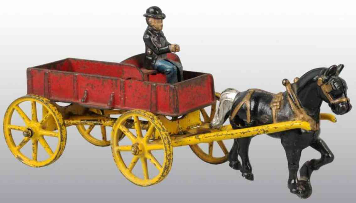 kenton hardware co cast iron toy horse drawn farm wagon red two horses