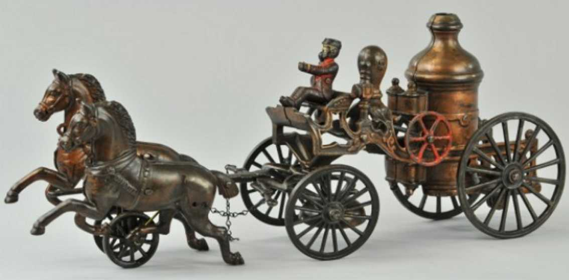 kenton hardware co cast iron toy two horse fire pumper wagon