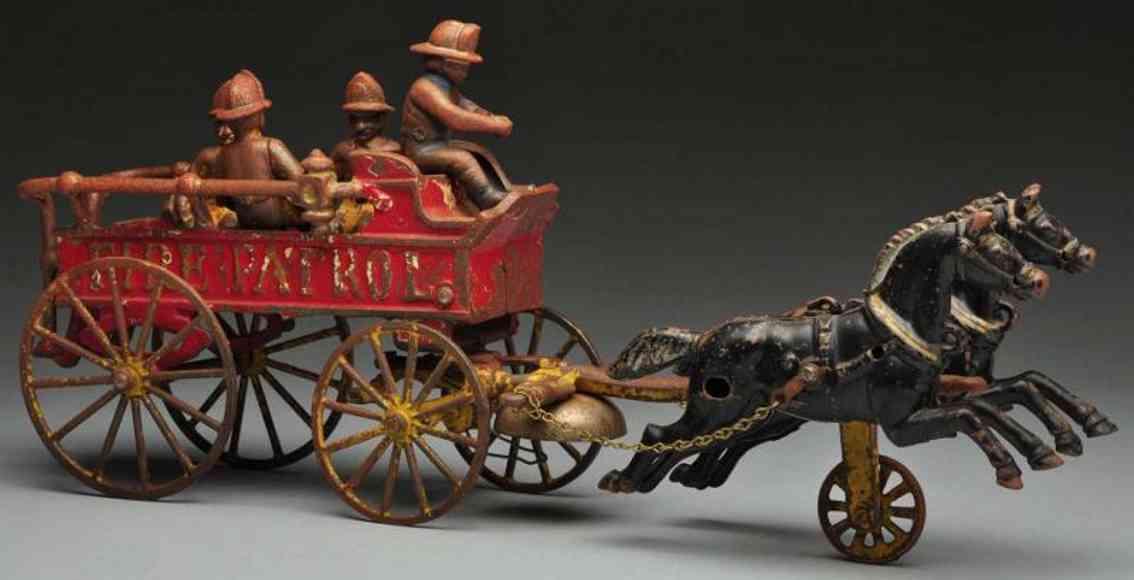 kenton hardware co cast iron toy fire patrol horse-drawn