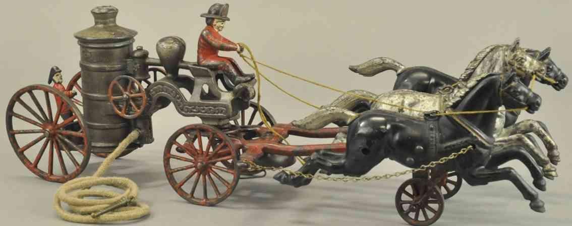 kenton hardware co spielzeug gusseisen feuerwehrkutsche drei pferde