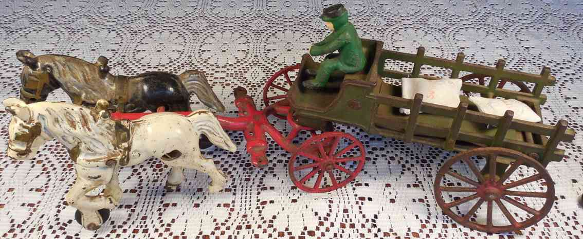 kenton hardware co cast iron toy two horse hitch farm or dray wagon