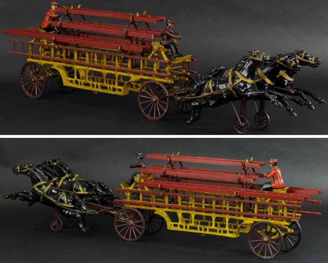kenton hardware co cast iron toy horse drawn ladder wagon