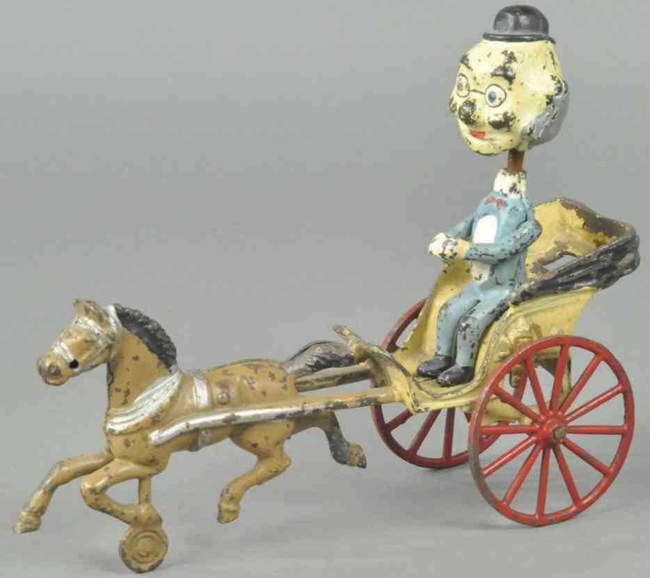 kenton hardware co  gusseisen wackelfigur foxy grossvater kutsche braunes pferd