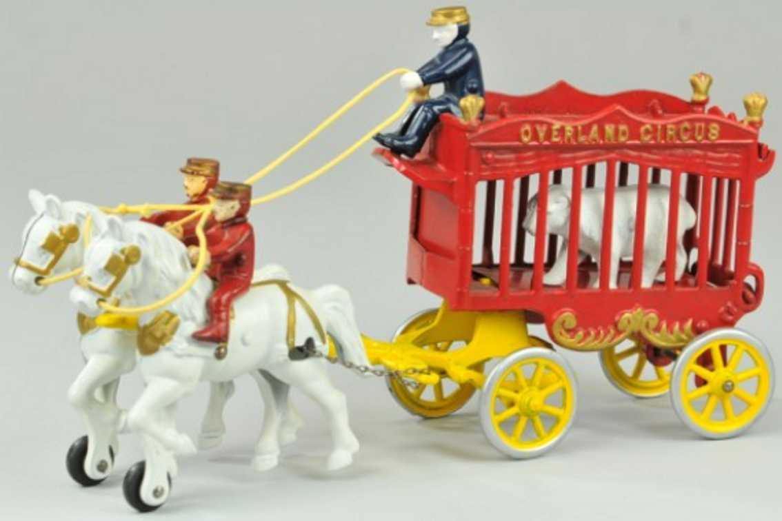 kenton hardware co 231 spielzeug gusseisen zirkuskaefigwagen mit weissem baer