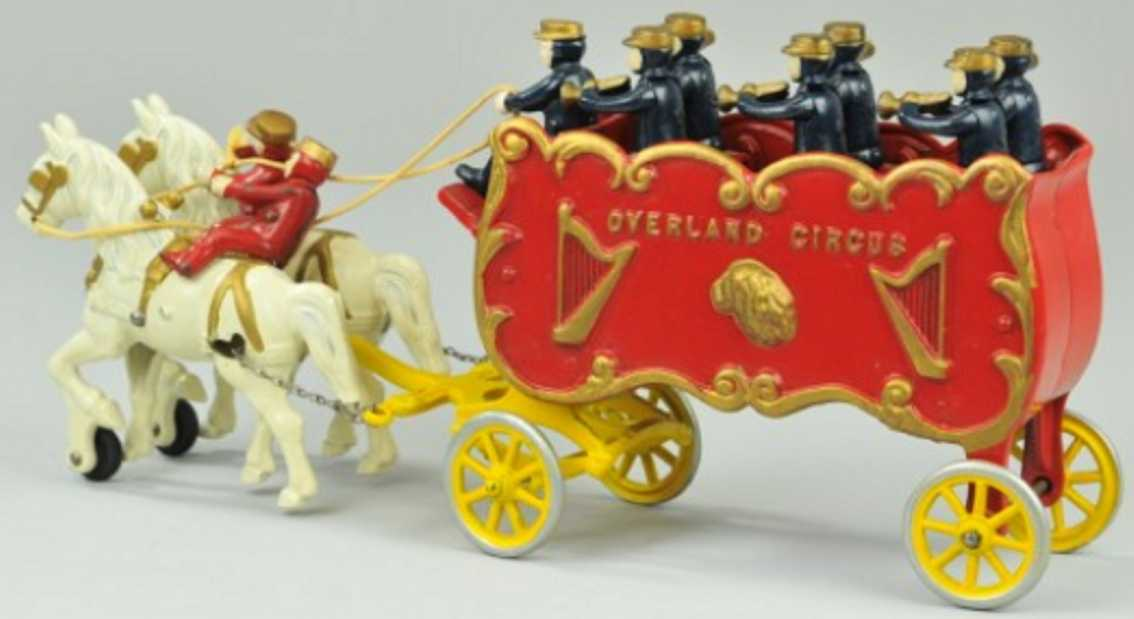 kenton hardware co cast iron toy overland circus band wagon