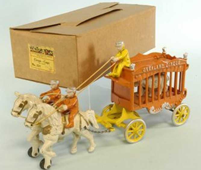 kenton hardware co cast iron toy overland circus wagon orange
