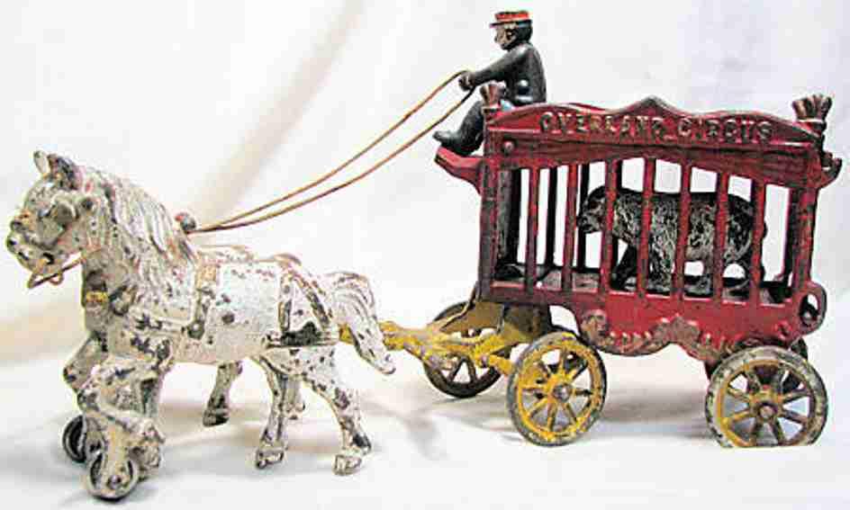 kenton hardware co spielzeug gusseisen ueberlandzirkuskaefigwagen zwei pferde