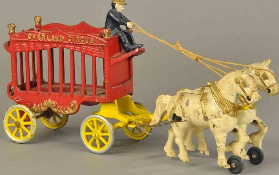 kenton hardware co spielzeug gusseisen ueberland-zirkuskutsche zwei pferd