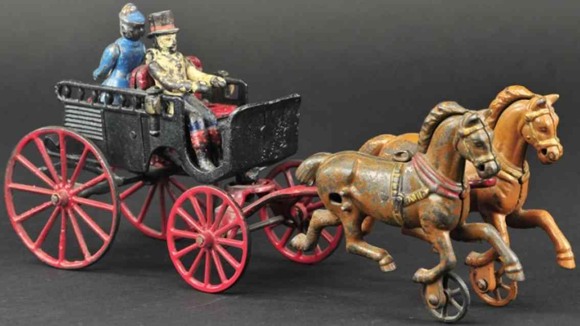 kenton hardware co spielzeug gusseisen oxford kutsche zwei figuren zwei pferden