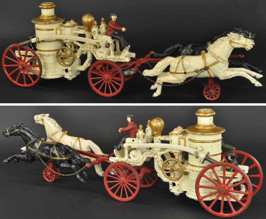 kenton hardware co cast iron toy horse drawn fire pumper engine white