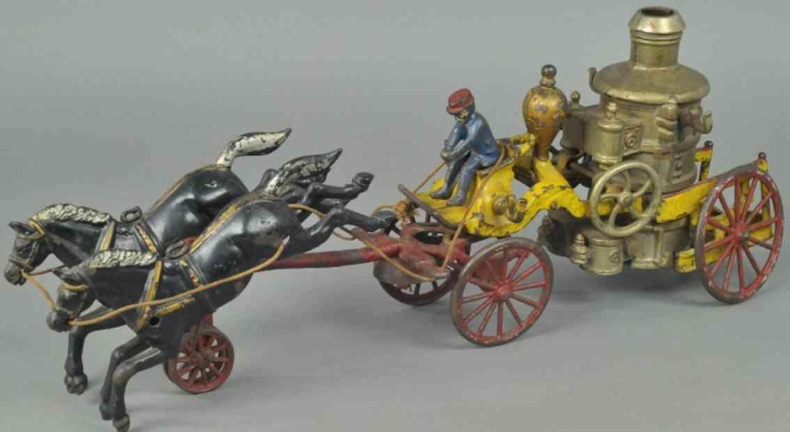 kenton hardware co gusseisen feuerwehrkasselwagen zwei schwarze pferde