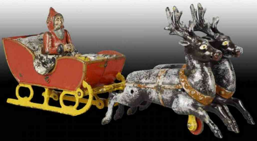 kyser & rex cast iron toy santa sleigh two reindeer