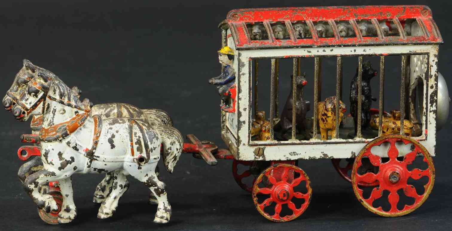 kyser & rex circus 2 horse 13 cast iron toy circus cage wagon two horses