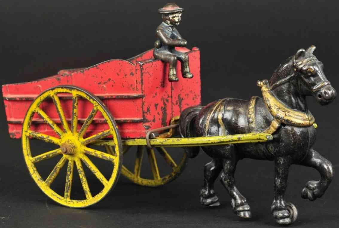 kyser & rex spielzeug gusseisen kippbare kohlekutsche rot ein schwarzes pferd