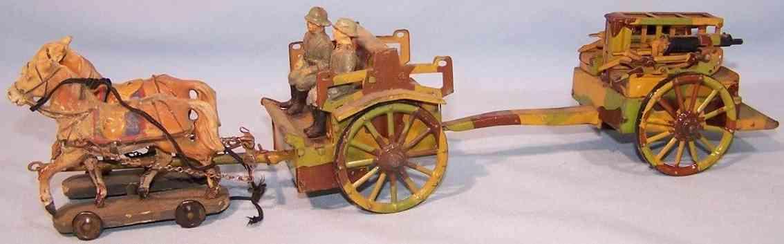 lineol militaer spielzeug pferdegespann mit doppeltem mg wagen