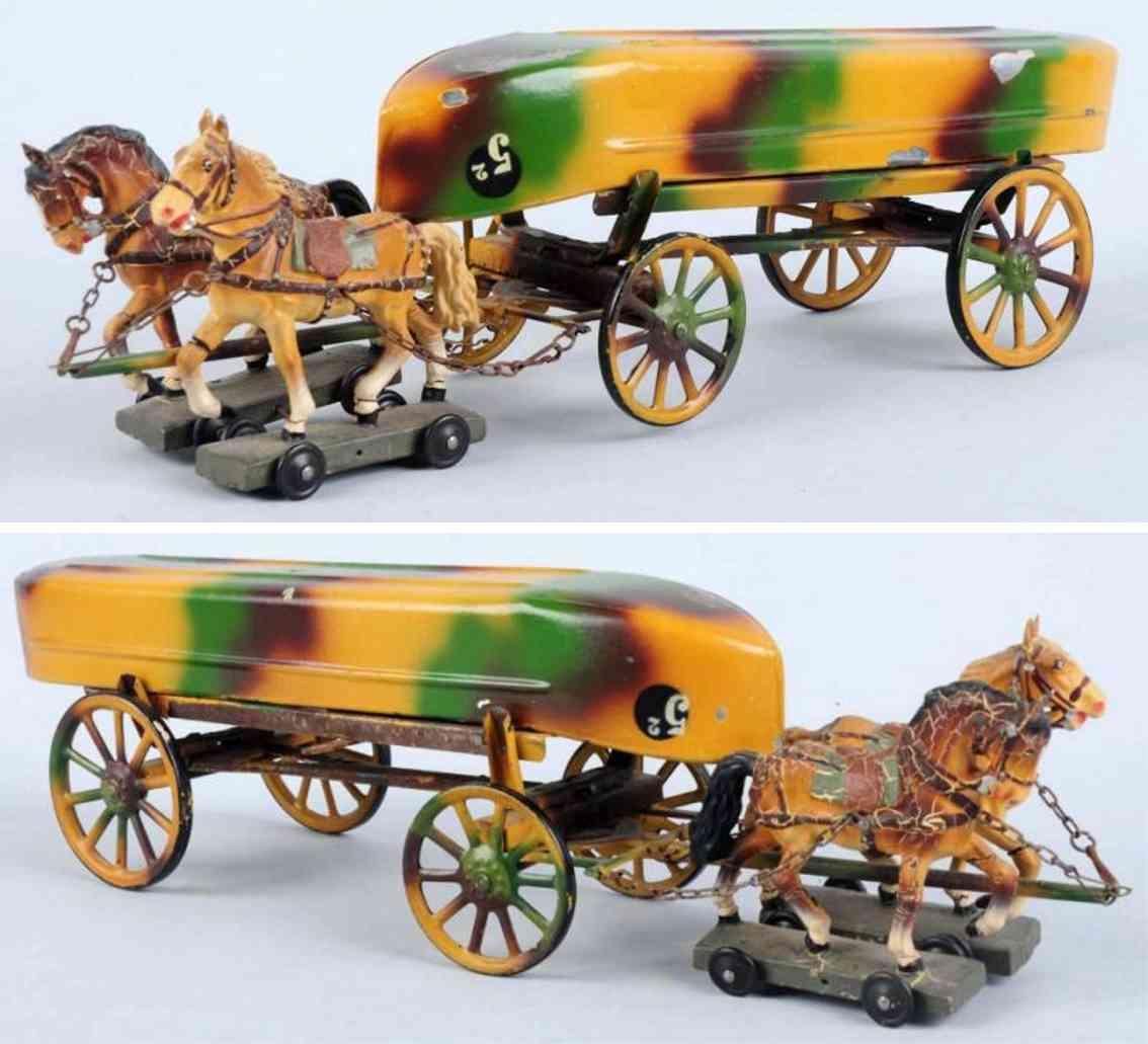 lineol militaer spielzeug kutsche zwei pferdn ein boot