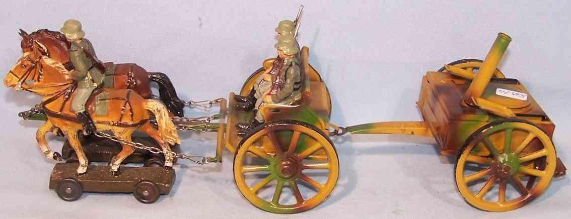 lineol military toy horse-drawn carriage field kitchen two horses thress soldiers