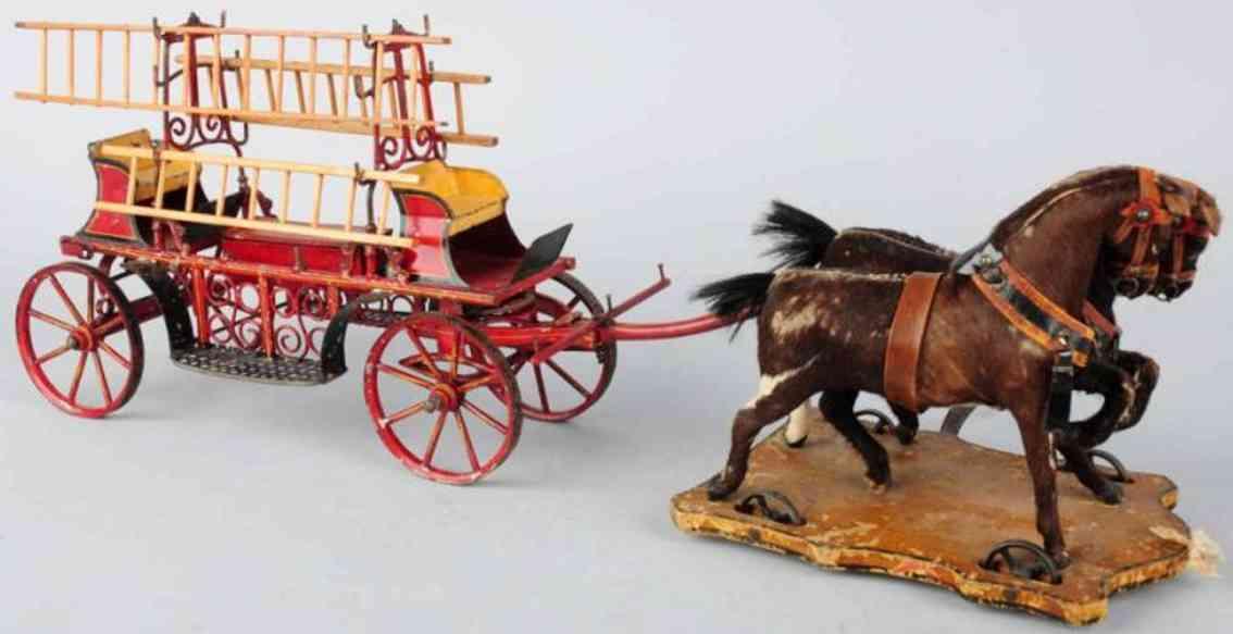 marklin  tin toy coach horse-drawn fire ladder