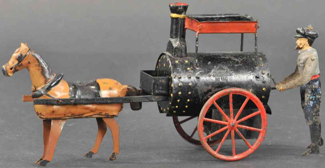martin fernand 194 tin toy la voiture à bitume asphalt car horse clockwork