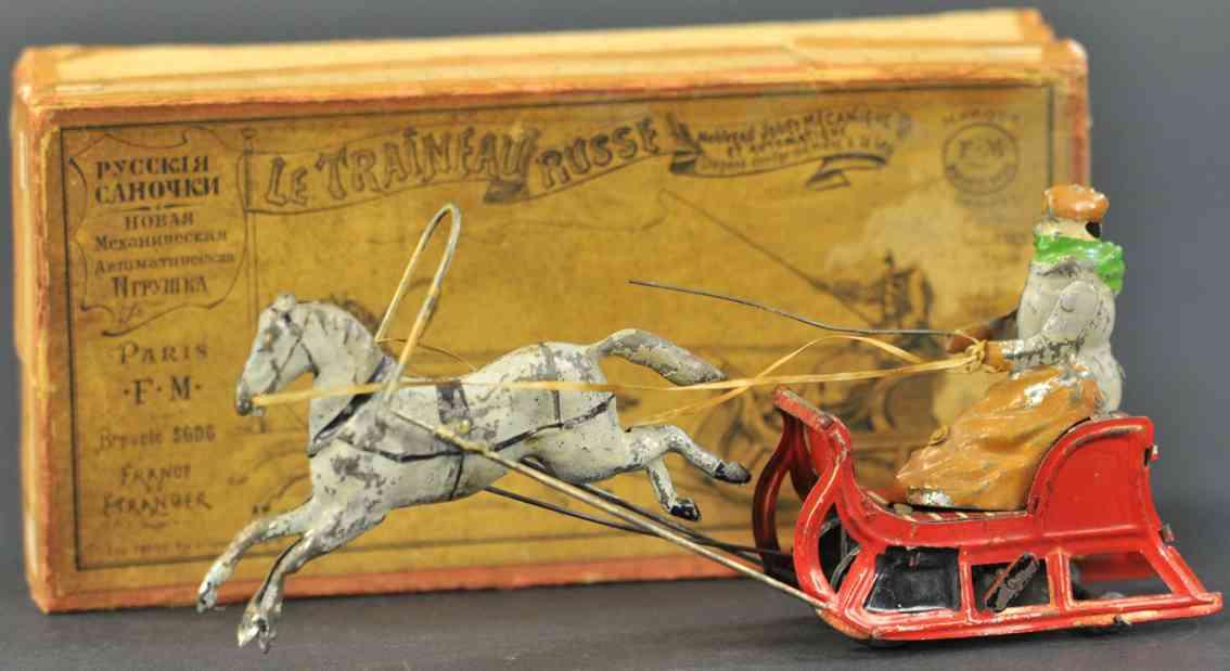 martin fernand 40 tin toy coach le traineau russe horse trainer sleigh