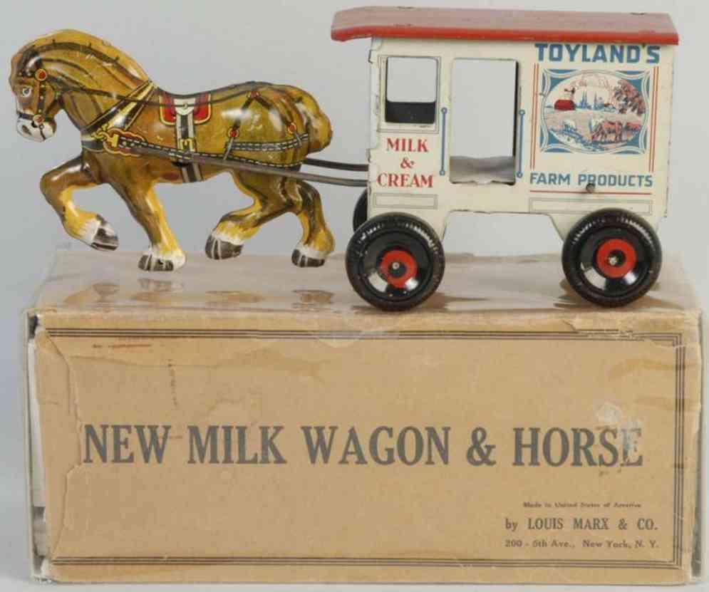 marx louis blech spielzeug milchwagen mit pferd