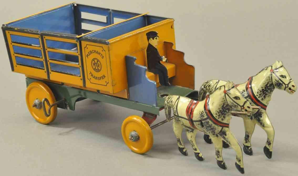 marx louis blech spielzeug transportwagen zwei pferde uhrwerk