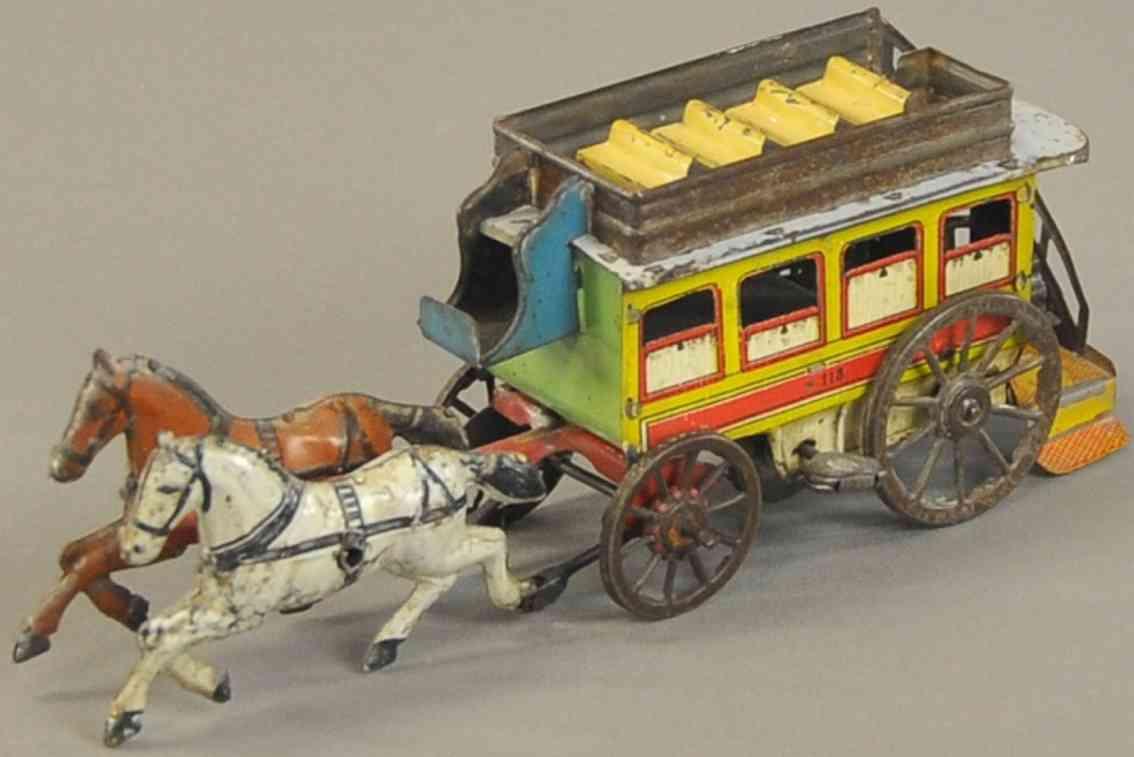 orobr 118 blech spielzeug stadt-strassenbahnkutsche zwei pferde