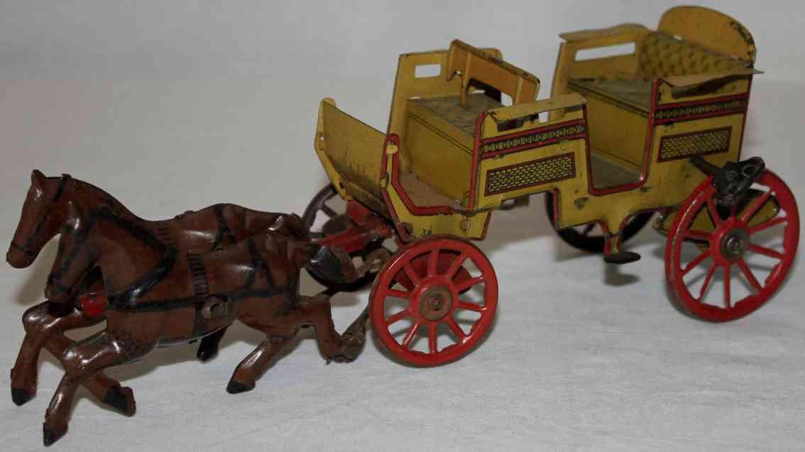 orobr blech spielzeug kutsche zwei pferde mit uhrwerk