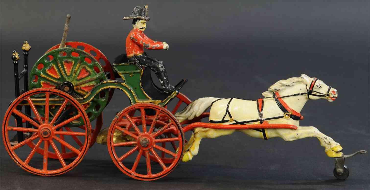 pratt & letchworth spielzeug gusseisen feuerwehrpumpemkutsche kutscher pferd