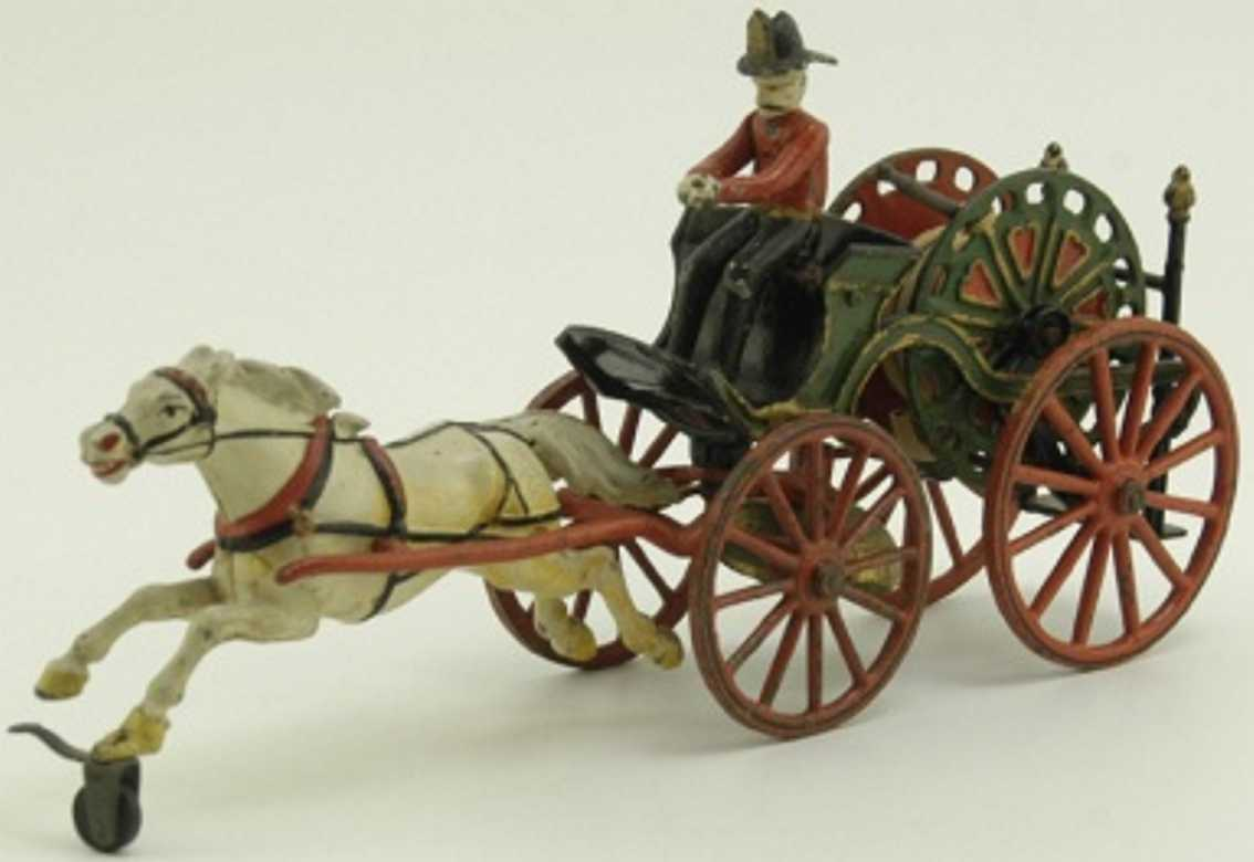 pratt & letchworth cast iron toy fire hose reel with driver and horse
