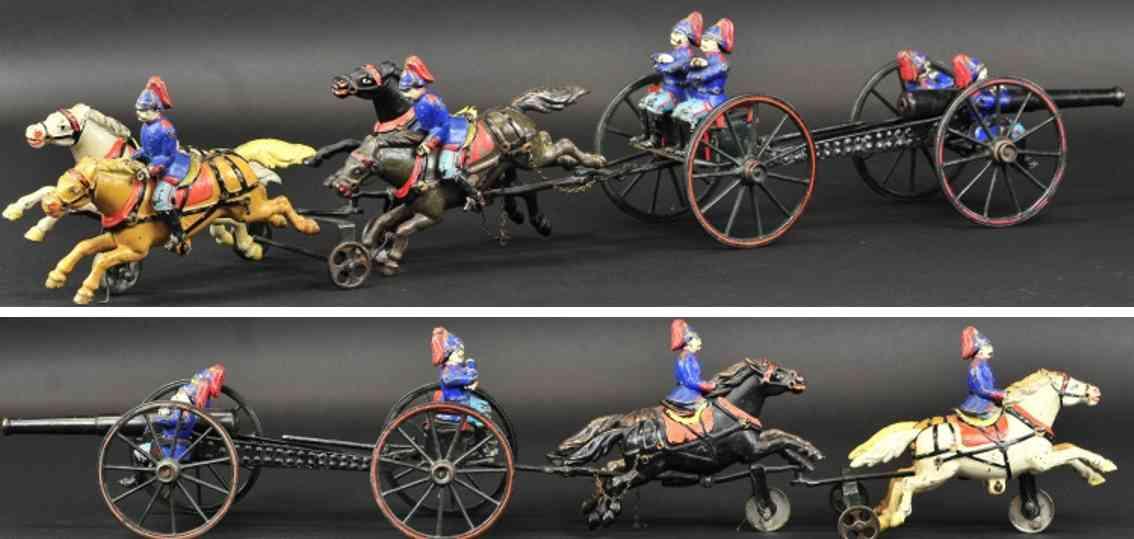 pratt & letchworth spielzeug gusseisen fliegende artillerie vier pferde