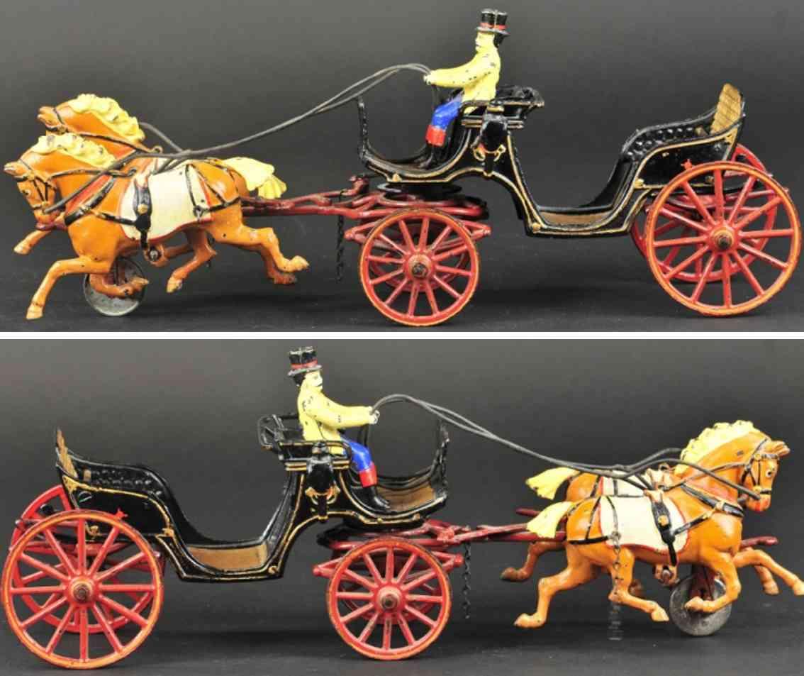 pratt & letchworth spielzeug gusseisen landauer  zwei pferde