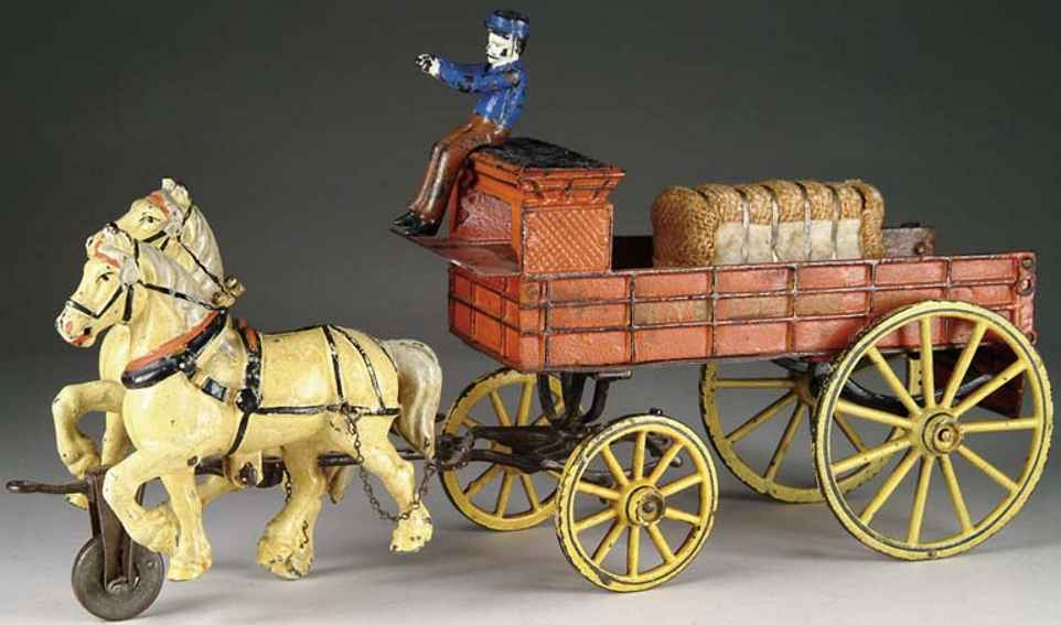pratt & letchworth spielzeug gusseisen kutsche rot hochsitz junge express zwei pferde