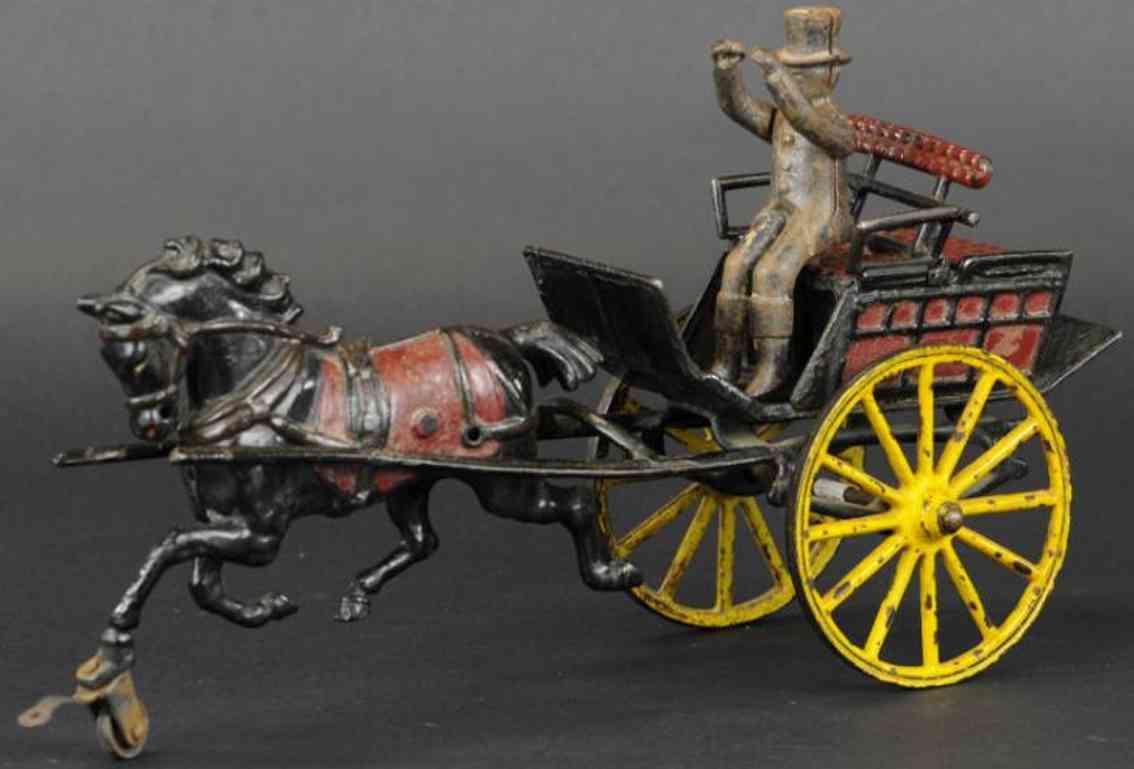 pratt & letchworth cast iron toy dog cart hunting trap driver