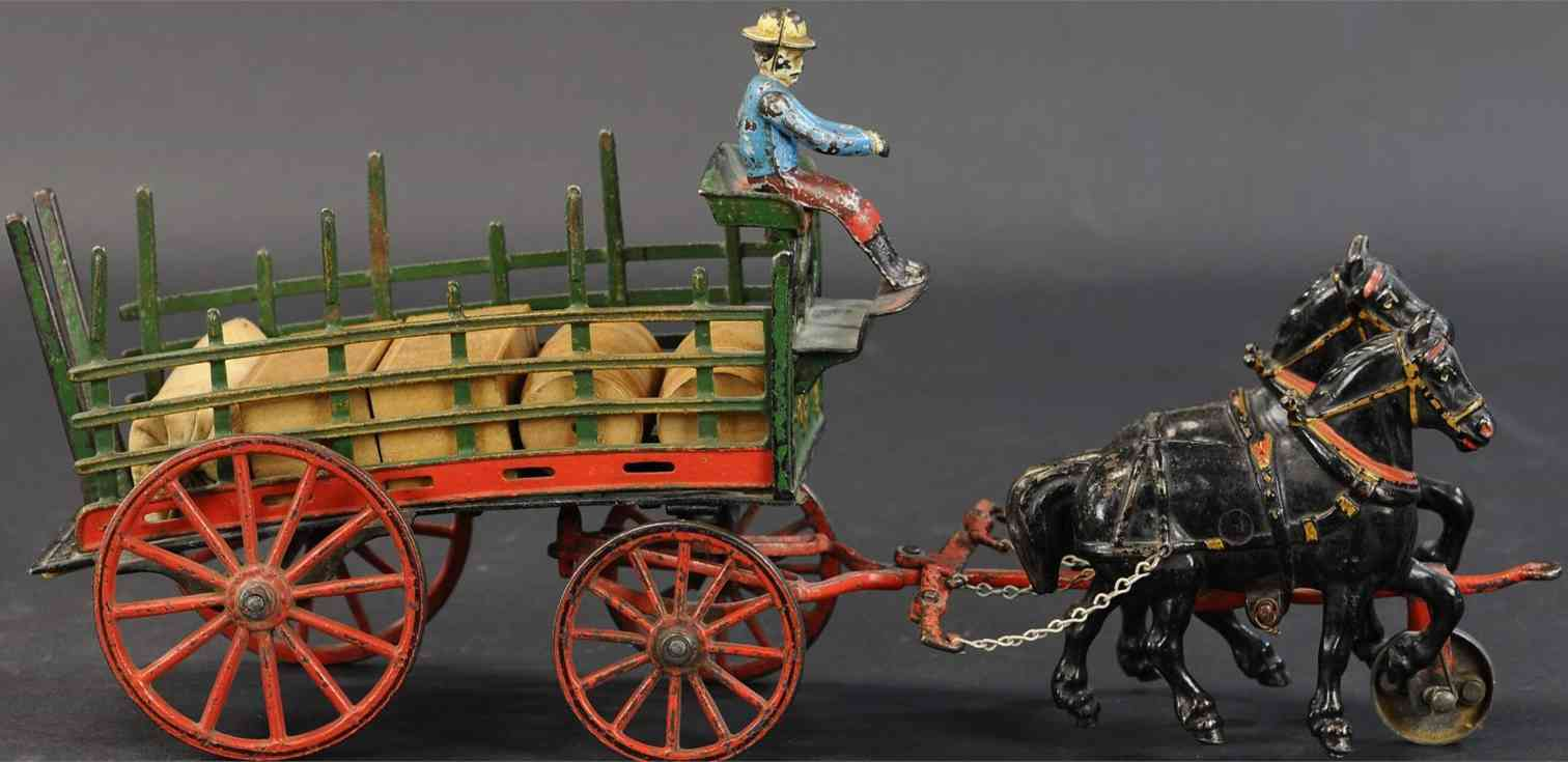 pratt & letchworth cast iron toy dray wagon driver two horses