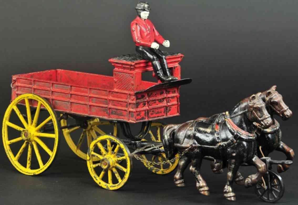 pratt & letchworth spielzeug gusseisen junge expresswagen rot zwei pferde