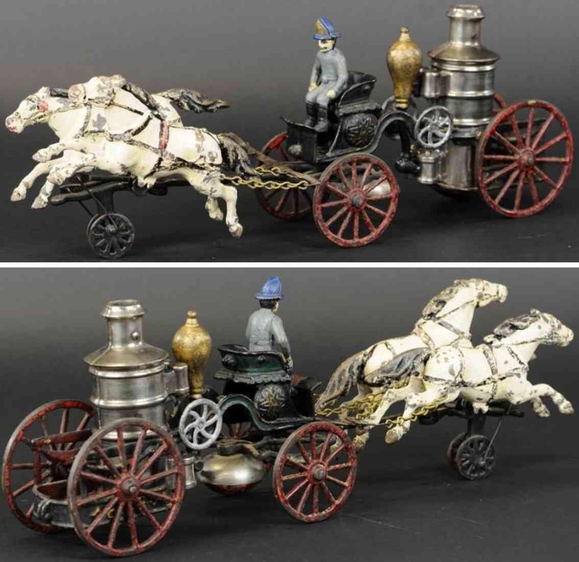 pratt & letchworth cast iron toy horse drawn fire engine
