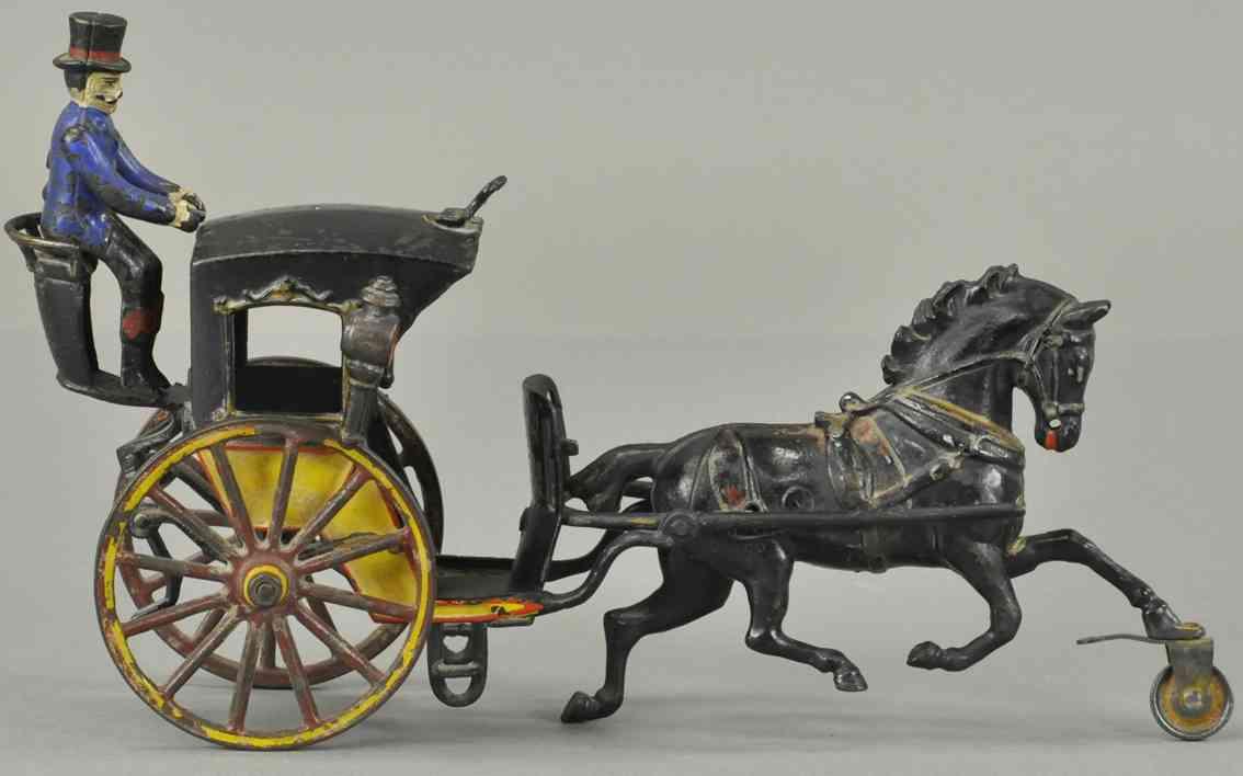 pratt & letchworth cast iron toy hansom cab horse-drawn driver