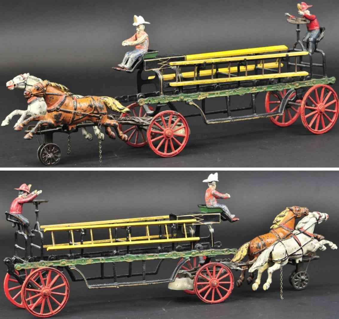 pratt & letchworth spielzeug gusseisen leiterwagen zwei pferde
