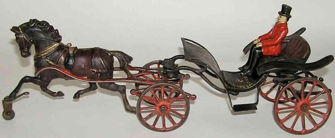 pratt & letchworth spielzeug gusseisen kutsche phaeton mit pferd und fahrer
